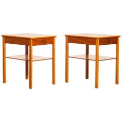 1950s, a Pair of Teak Bedside Tables by Säffle, Sweden
