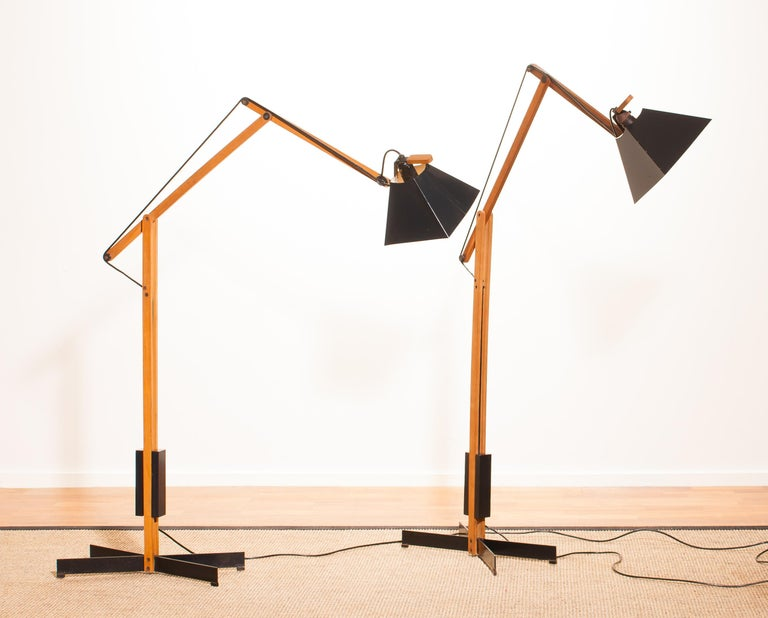 1950s, A Pair Of Very Rare Teak And Metal Floor Lamps By