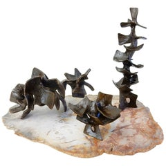 1950s Abstract Bronze Sculpture Set