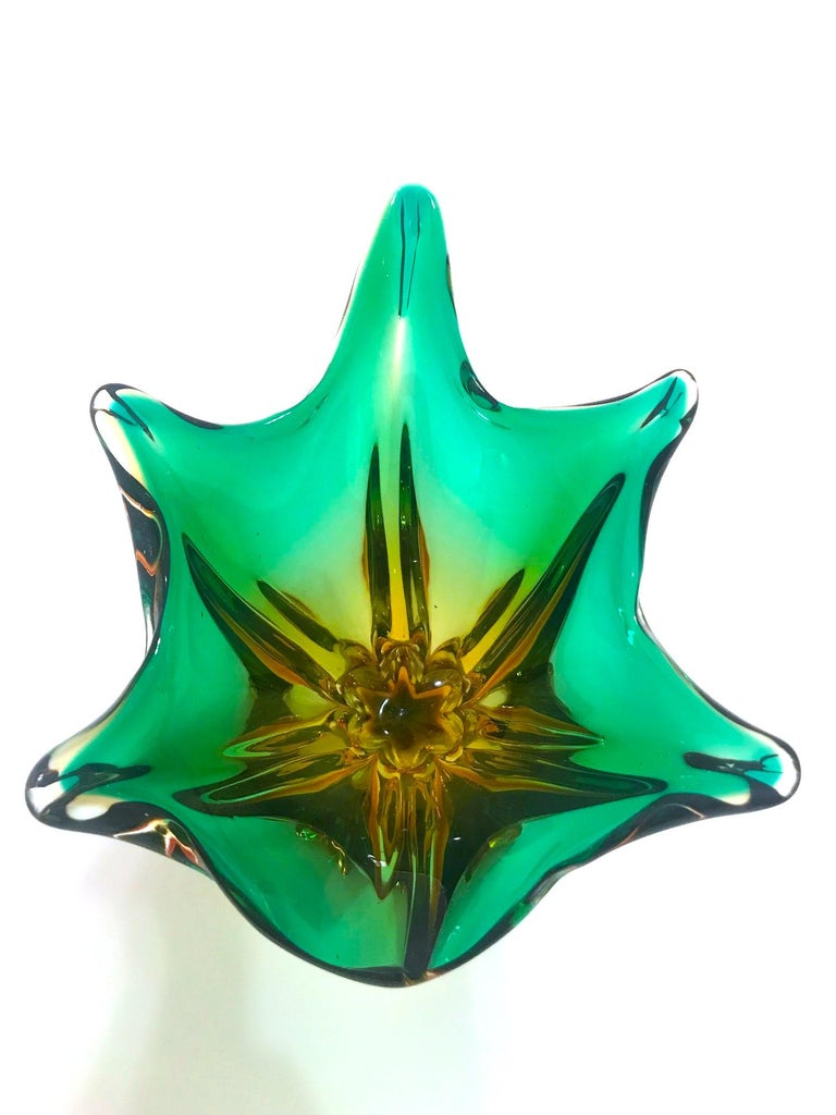 French 1950s Abstract Murano Sommerso Vase in Emerald and Amber Hues, Italy For Sale