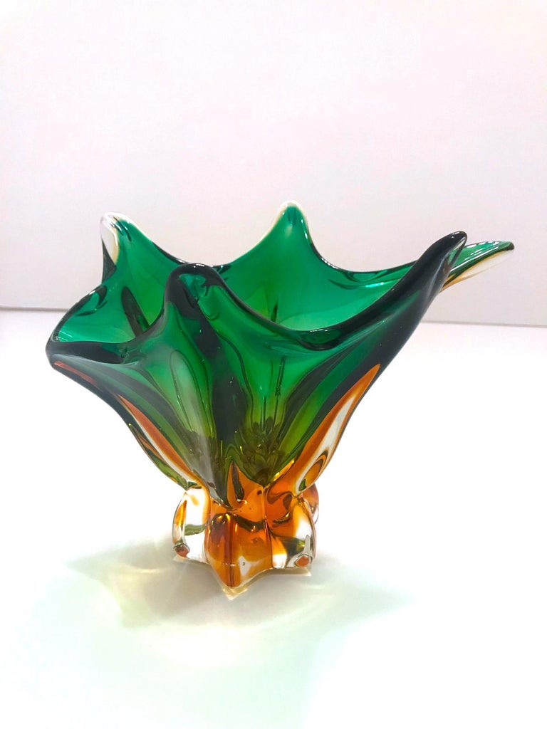 Mid-20th Century 1950s Abstract Murano Sommerso Vase in Emerald and Amber Hues, Italy For Sale