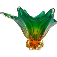 1950s Abstract Murano Sommerso Vase in Emerald and Amber Hues, Italy