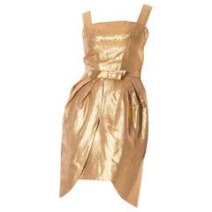 1950S Metallic Acetate & Lurex Gold Lamé Cocktail Dress With Detachable Peplum