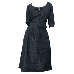 1950s Adele Simpson Black Silk Two Piece Fit n' Flare Vintage 50s Dress Set Suit