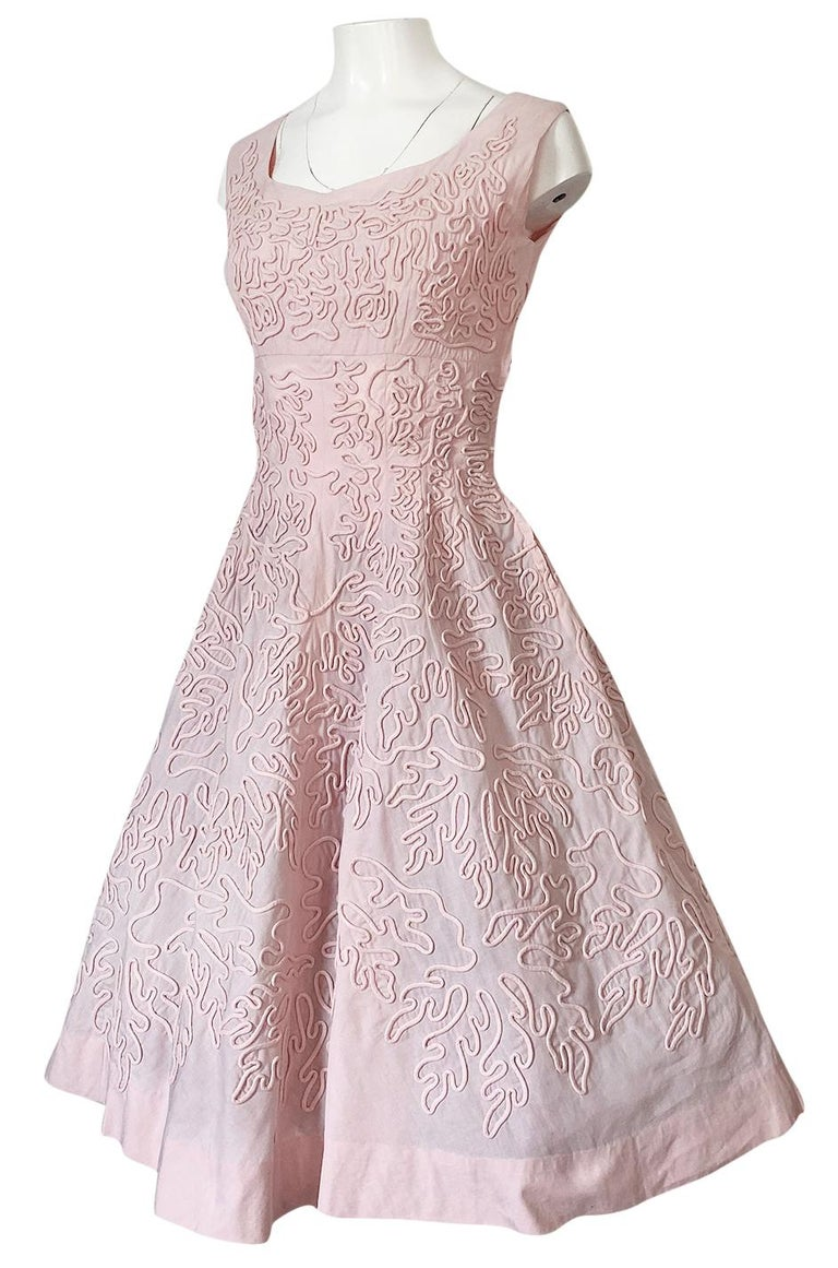 Women's 1950s Adele Simpson Pink Cotton Dress w Hand Applique Cording Detail For Sale