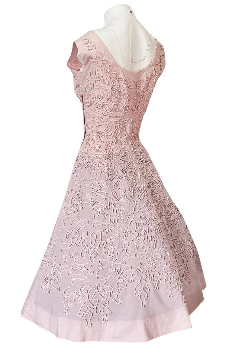 1950s Adele Simpson Pink Cotton Dress w Hand Applique Cording Detail For Sale 1