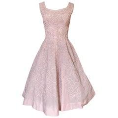 1950s Adele Simpson Pink Cotton Dress w Hand Applique Cording Detail