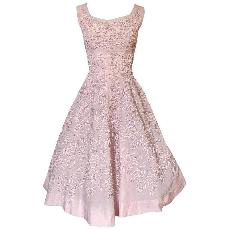 1950s Adele Simpson Pink Cotton Dress w Hand Applique Cording Detail For Sale