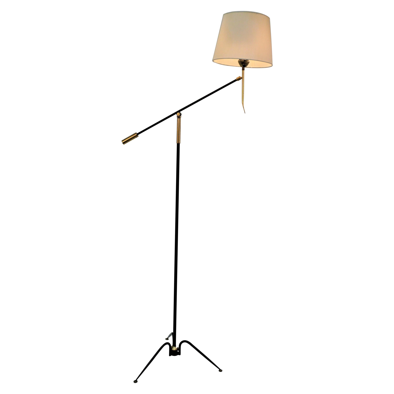 1950's Adjustable Floor Lamp by Maison Lunel