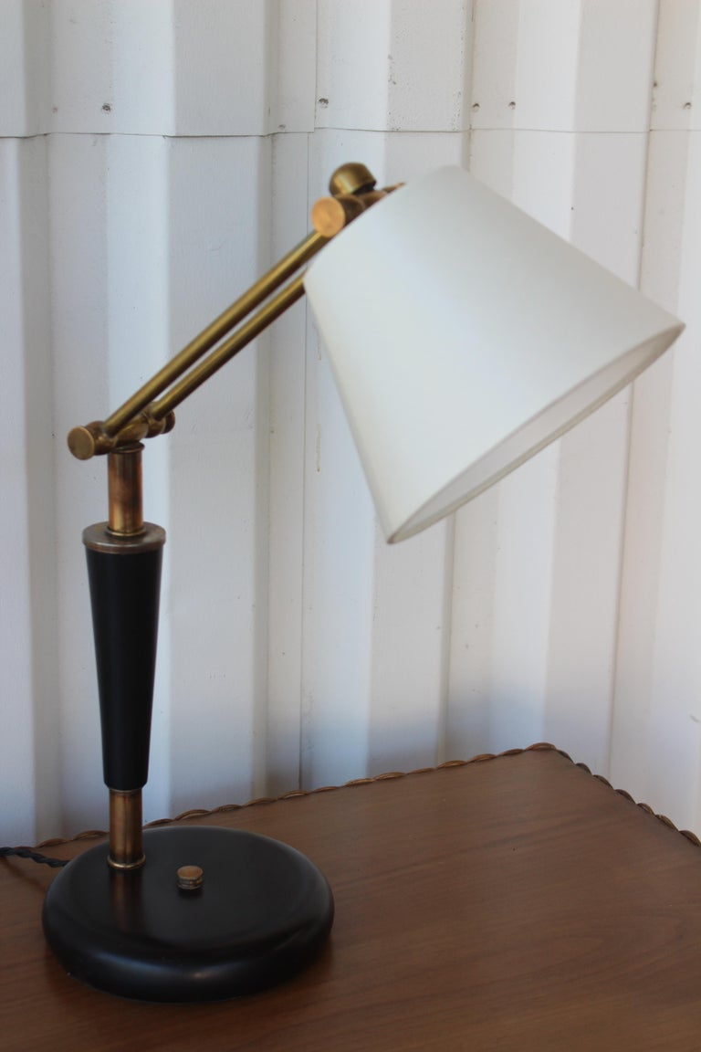 Mid-Century Modern 1950s Adjustable French Desk Lamp For Sale
