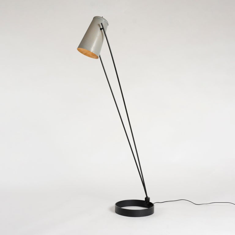 Mid-Century Modern 1950s Adjustable Perforated Floor Lamp by Ben Seibel for Raymor For Sale