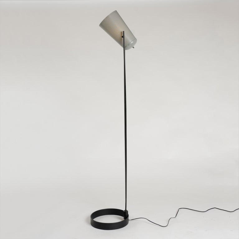 American 1950s Adjustable Perforated Floor Lamp by Ben Seibel for Raymor For Sale