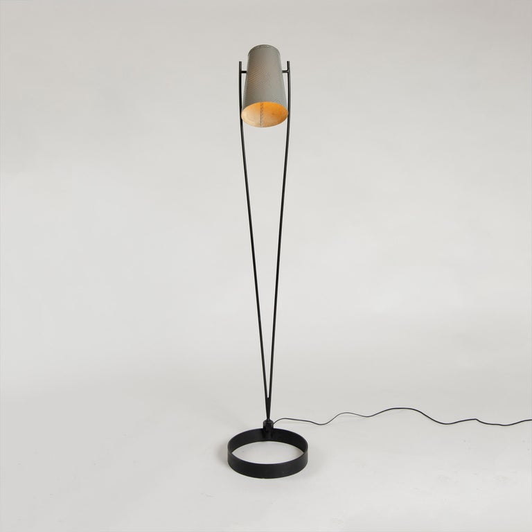 1950s Adjustable Perforated Floor Lamp by Ben Seibel for Raymor In Good Condition For Sale In Sagaponack, NY