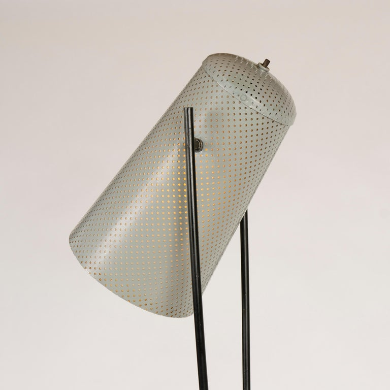 Mid-20th Century 1950s Adjustable Perforated Floor Lamp by Ben Seibel for Raymor For Sale