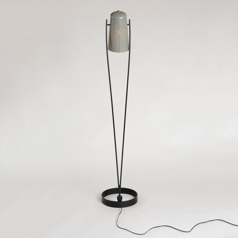 Aluminum 1950s Adjustable Perforated Floor Lamp by Ben Seibel for Raymor For Sale