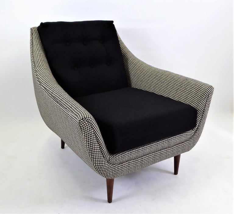 Mid-Century Modern 1950s Adrian Pearsall Lounge Armchair in Houndstooth For Sale