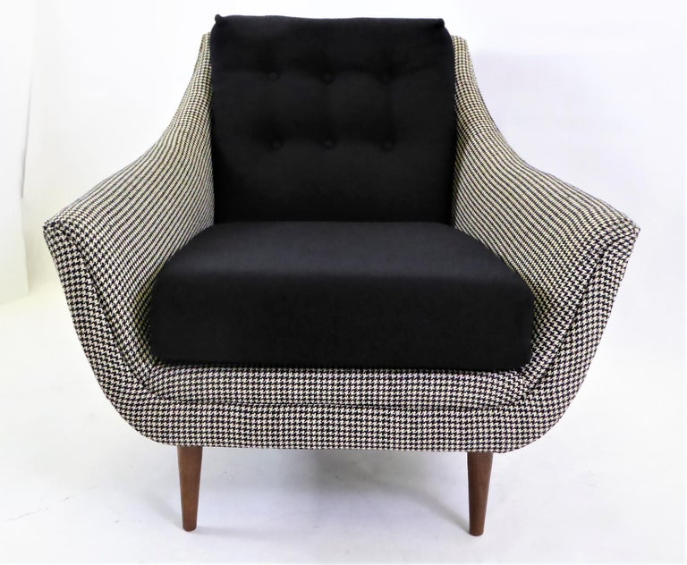 American 1950s Adrian Pearsall Lounge Armchair in Houndstooth For Sale