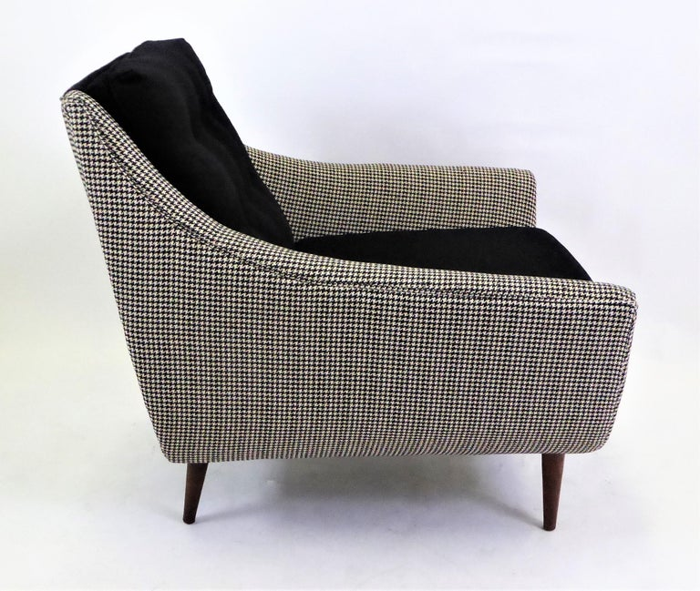 Fabric 1950s Adrian Pearsall Lounge Armchair in Houndstooth For Sale