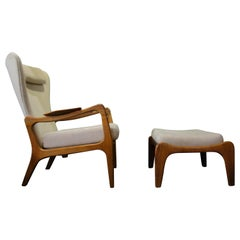 1950s Adrian Pearsall Wingback Lounge Chair and Ottoman for Craft & Associates