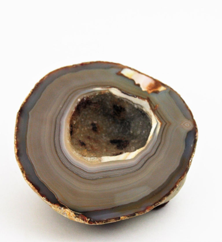 Mid-Century Modern 1950s Agate Geode Stone Bowl, Paperweight or Book Holder For Sale