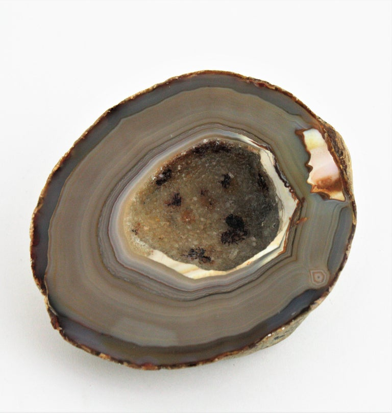 1950s Agate Geode Stone Bowl, Paperweight or Book Holder In Good Condition For Sale In Barcelona, ES