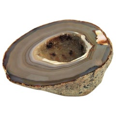 1950s Agate Geode Stone Bowl, Paperweight or Book Holder