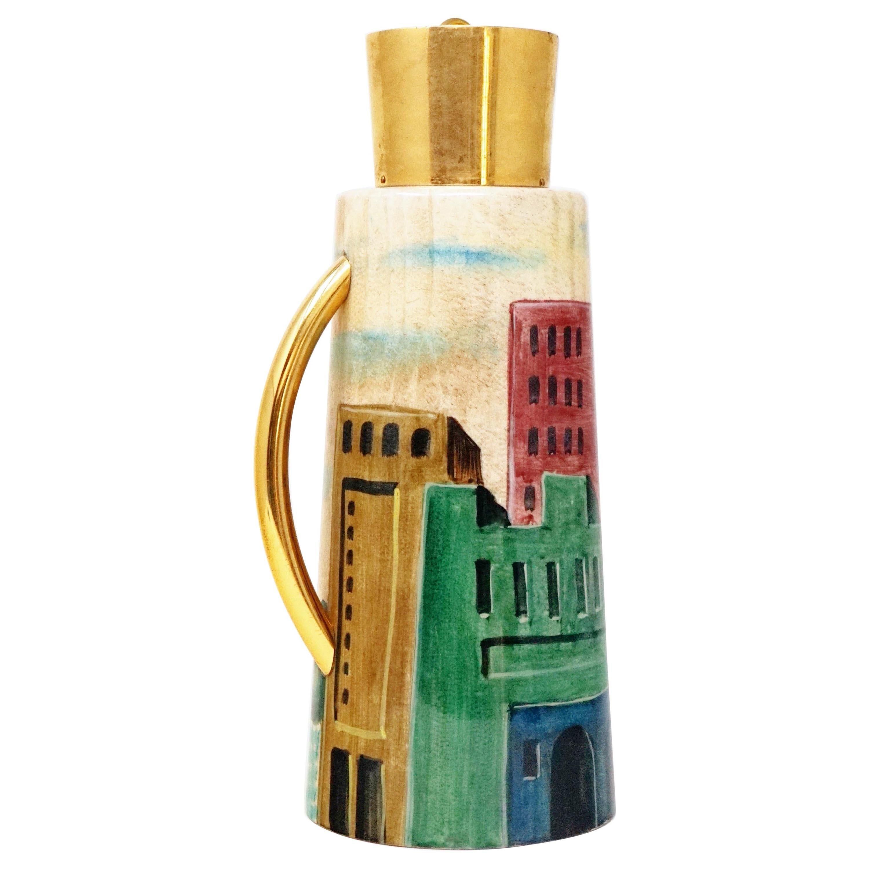 1950s Aldo Tura Hand Painted Cityscape Goatskin Parchment Carafe Pitcher, Italy