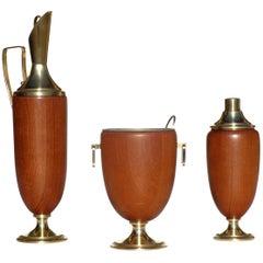1950s Aldo Tura Italian Midcentury Design Wood Cocktail Set