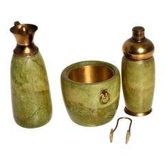1950s Aldo Tura Macabo Bar Set Goatskin & Brass Ice Bucket Carafe Shaker, Italy