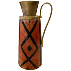 1950s Aldo Tura Mid-Century Modern Hand-Painted Red Goatskin Thermos Carafe