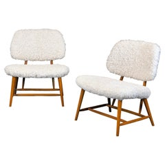 1950's Alf Svensson ''Teve'' Lounge Chairs in Beech and Sheepskin