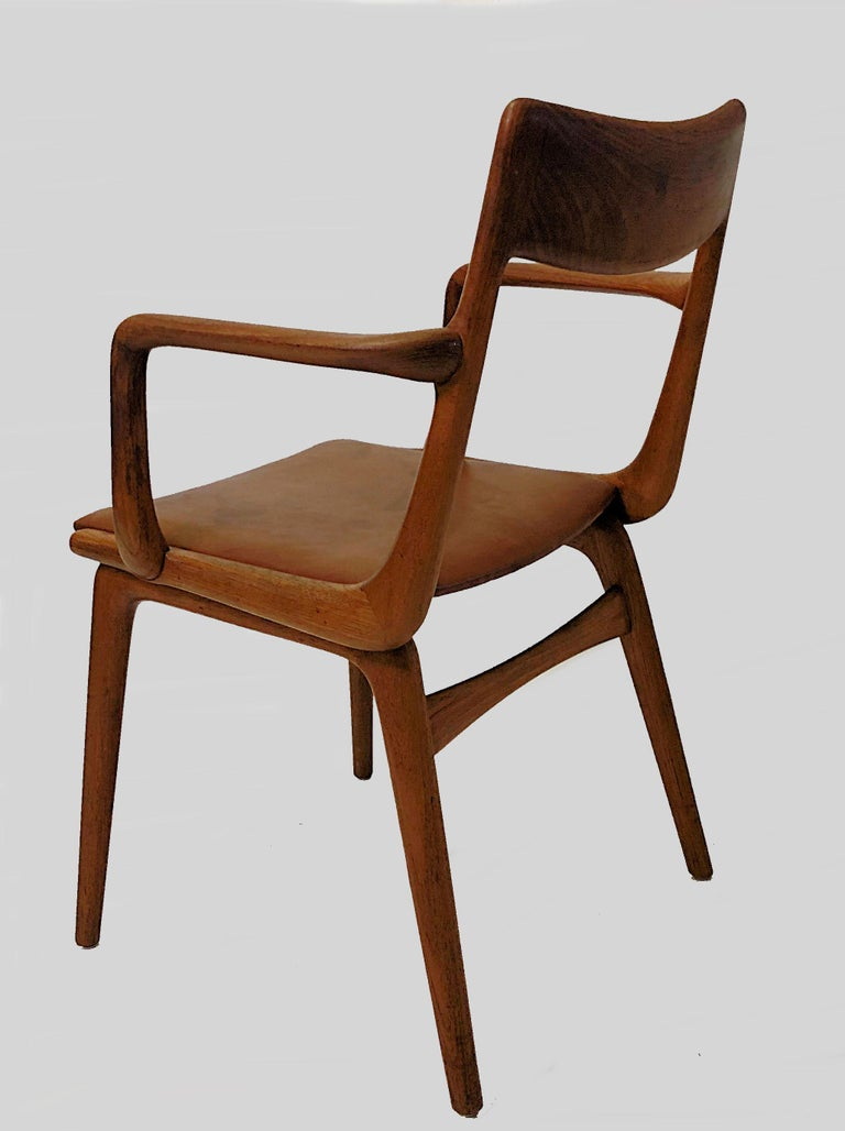 Scandinavian Modern Alfred Christensen Refinished Boomerang Armchairs in Teak, Choice of Upholstery For Sale