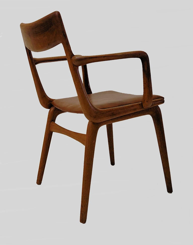 Alfred Christensen Refinished Boomerang Armchairs in Teak, Choice of Upholstery In Good Condition For Sale In Knebel, DK