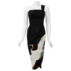 1950's Alix of Miami Crane Bird Novelty Applique Black Cotton One-Shoulder Dress