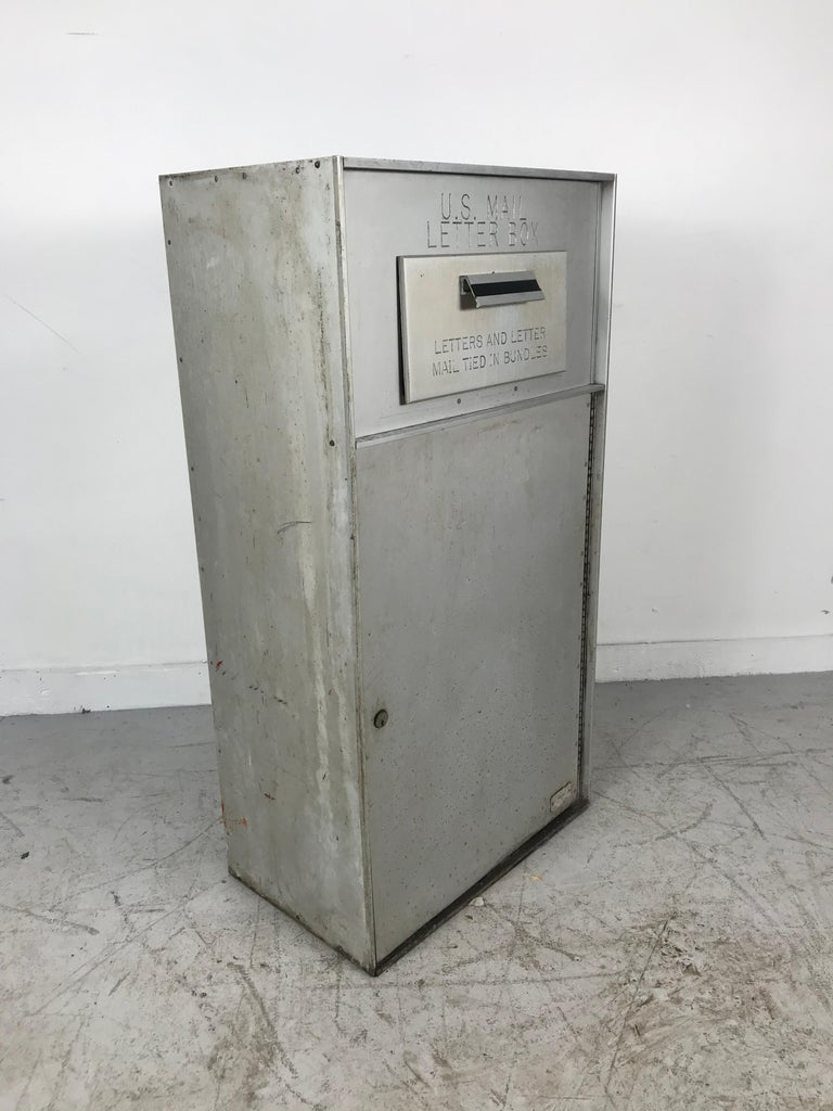 Industrial 1950s All Aluminum United States Mail Letter Box, Manufactured by Bommer For Sale