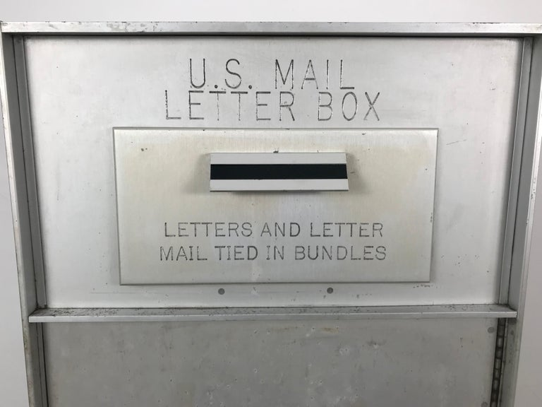 American 1950s All Aluminum United States Mail Letter Box, Manufactured by Bommer For Sale