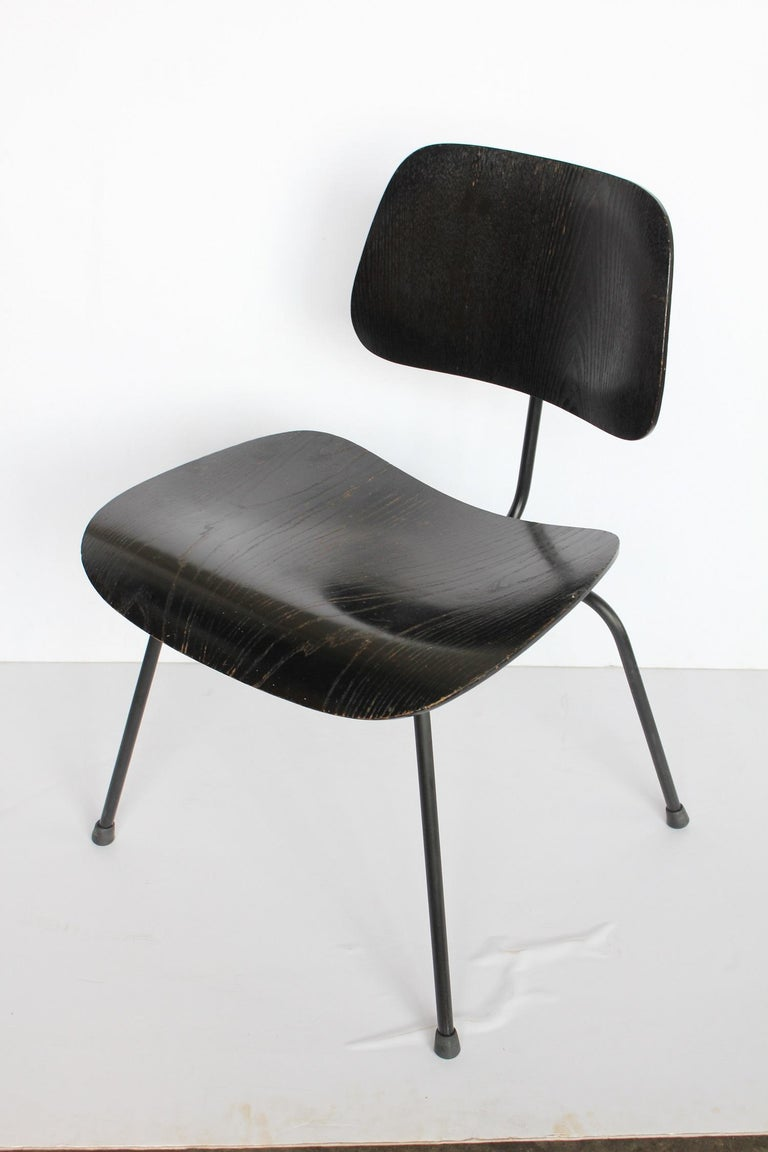Mid-Century Modern 1950s All Black DCM Chair by Charles & Ray Eames for Herman Miller For Sale