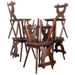 1950s Alsace Regional Oak Dining Chair, Set of Eight