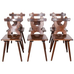 1950s Alsace Regional Oak Dining Chair, Set of Six