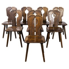 1950's Alsace Regional Open Back Dining Chair, Set of Eight