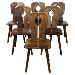 1950's Alsace Regional Open Back Dining Chair, Set of Six