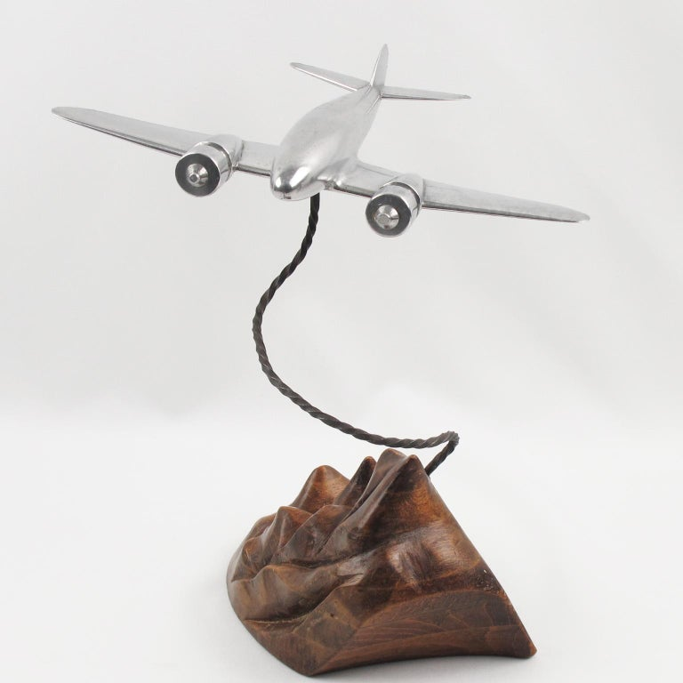 Mid-Century Modern 1950s Aluminum and Wood French Airplane Aviation Model For Sale