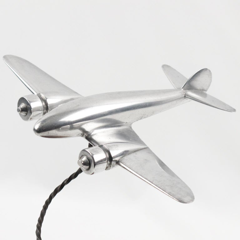 1950s Aluminum and Wood French Airplane Aviation Model For Sale 1
