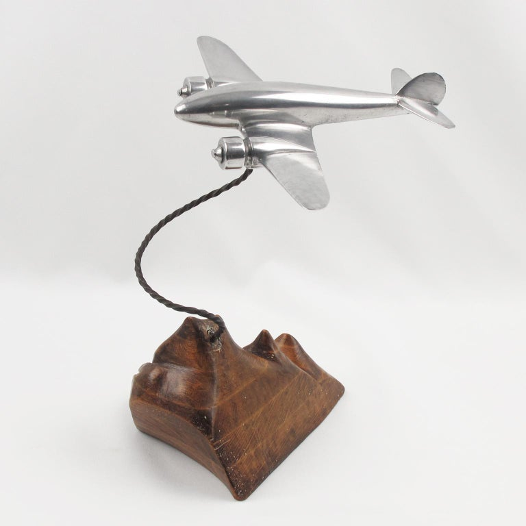 1950s Aluminum and Wood French Airplane Aviation Model For Sale 3