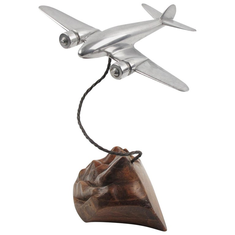 1950s Aluminum and Wood French Airplane Aviation Model For Sale