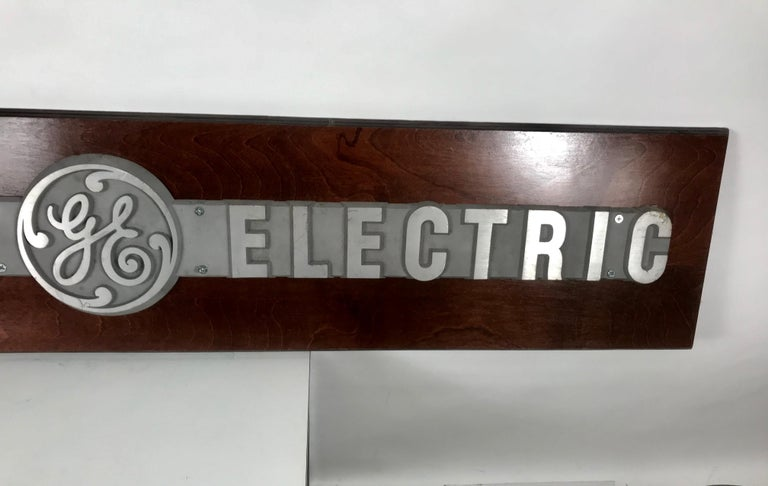 American 1950s Aluminum on Wood General Electric Logo, Sign Plaque For Sale