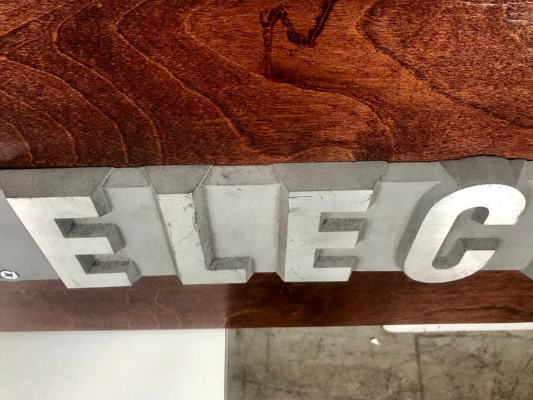 Cast 1950s Aluminum on Wood General Electric Logo, Sign Plaque For Sale
