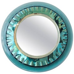 1950s Amazing Quality Max Ingrand Green Glass Mirror by Fontana Arte