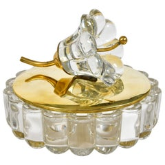 1950s American Bonbonniere brass and glass flower bowl