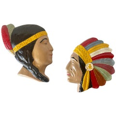 1950's American Classic Decorative Indian Wall Hanging Faces